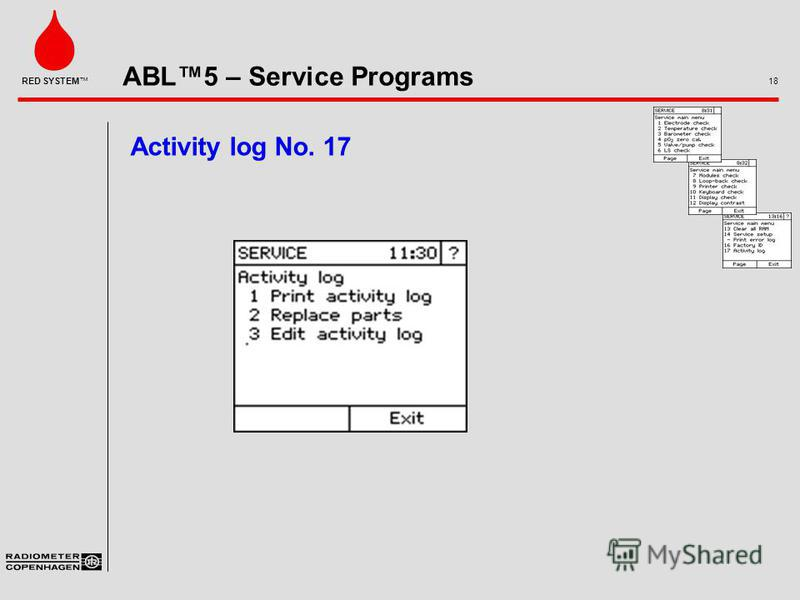 ABL5 – Service Programs 18 RED SYSTEM Activity log No. 17