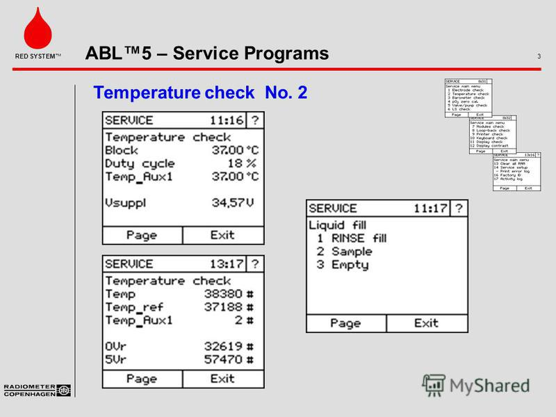 ABL5 – Service Programs 3 RED SYSTEM Temperature check No. 2