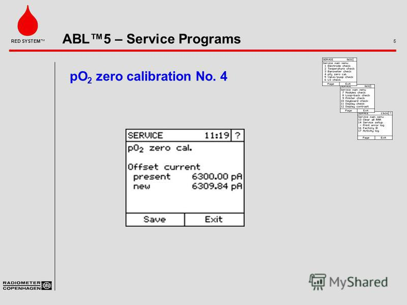ABL5 – Service Programs 5 RED SYSTEM pO 2 zero calibration No. 4