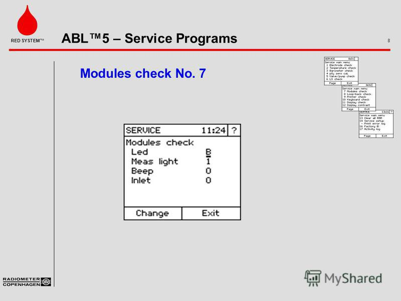ABL5 – Service Programs 8 RED SYSTEM Modules check No. 7