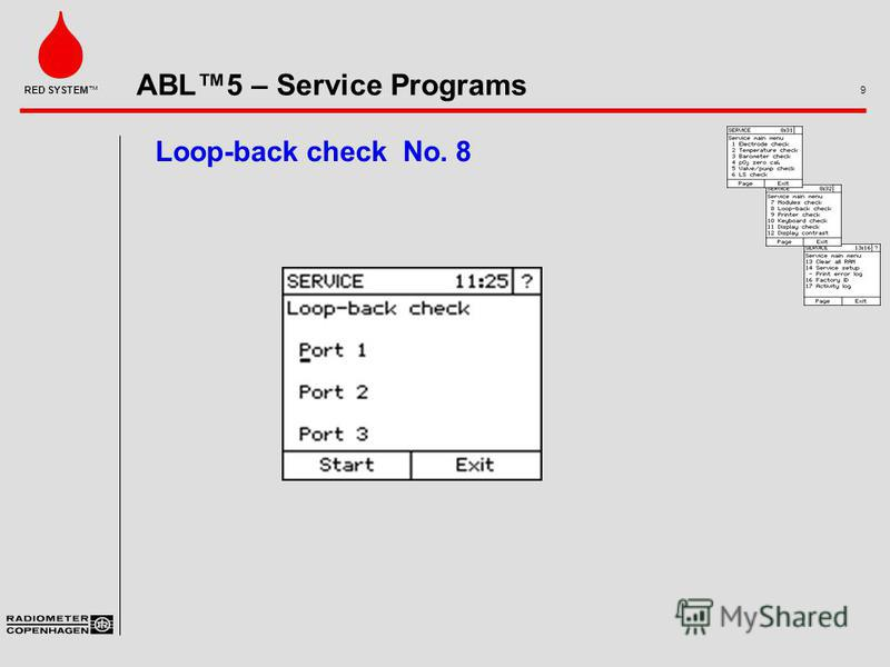 ABL5 – Service Programs 9 RED SYSTEM Loop-back check No. 8