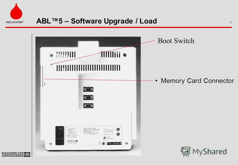 ABL5 – Software Upgrade / Load 1 RED SYSTEM 1. Switch off the ABL5 2. Mount the Memory card in the memory card slot (do NOT use force) 3. Using a pen or similar press the boot switch and switch on the analyzer, Release the switch after 2 seconds. 4.