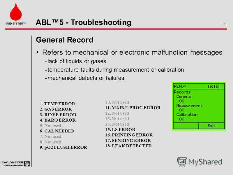 ABL5 - Troubleshooting 5 RED SYSTEM General Record Refers to mechanical or electronic malfunction messages ­lack of liquids or gases ­temperature faults during measurement or calibration ­mechanical defects or failures 10. Not used 11. MAINT. PROG ER