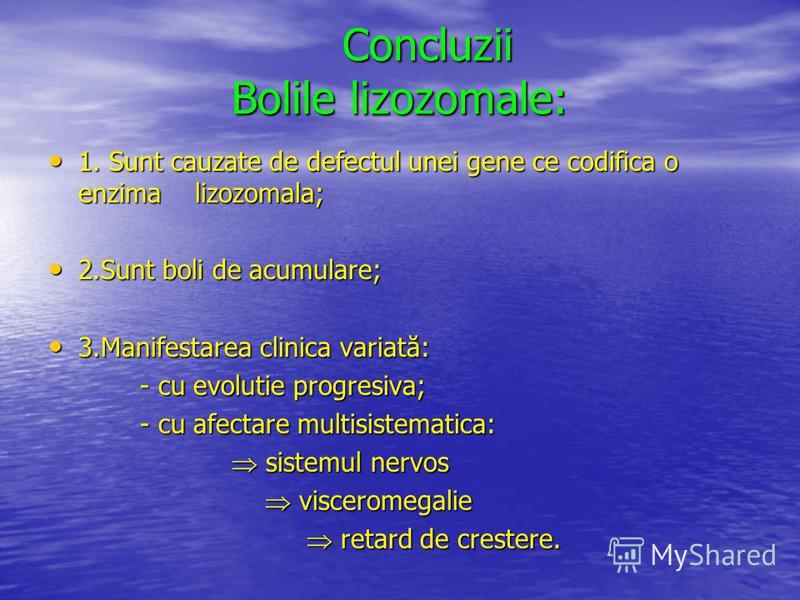 Concluzii Bolile lizozomale: Concluzii Bolile lizozomale: 1. Sunt cauzate de defectul unei gene ce codifica o enzima lizozomala; 1. Sunt cauzate de defectul unei gene ce codifica o enzima lizozomala; 2.Sunt boli de acumulare; 2.Sunt boli de acumulare