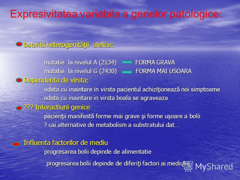 Datorită h eterogenităţii alelice: Datorită h eterogenităţii alelice: mutatie la nivelul A (2134) FORMA GRAVA mutatie la nivelul A (2134) FORMA GRAVA mutatie la nivelul G (2430) FORMA MAI USOARA mutatie la nivelul G (2430) FORMA MAI USOARA Dependenta