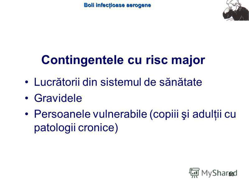 Boli infecţioase aerogene 56 Contingentele cu risc major Lucrătorii din sistemul de sănătate Gravidele Persoanele vulnerabile (copiii şi adulţii cu patologii cronice)
