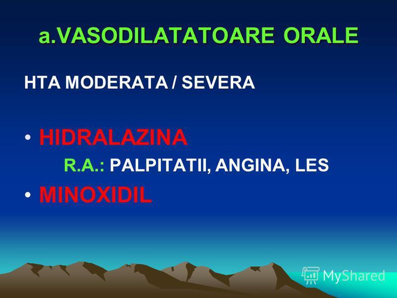 a.VASODILATATOARE ORALE HTA MODERATA / SEVERA HIDRALAZINA R.A.: PALPITATII, ANGINA, LES MINOXIDIL