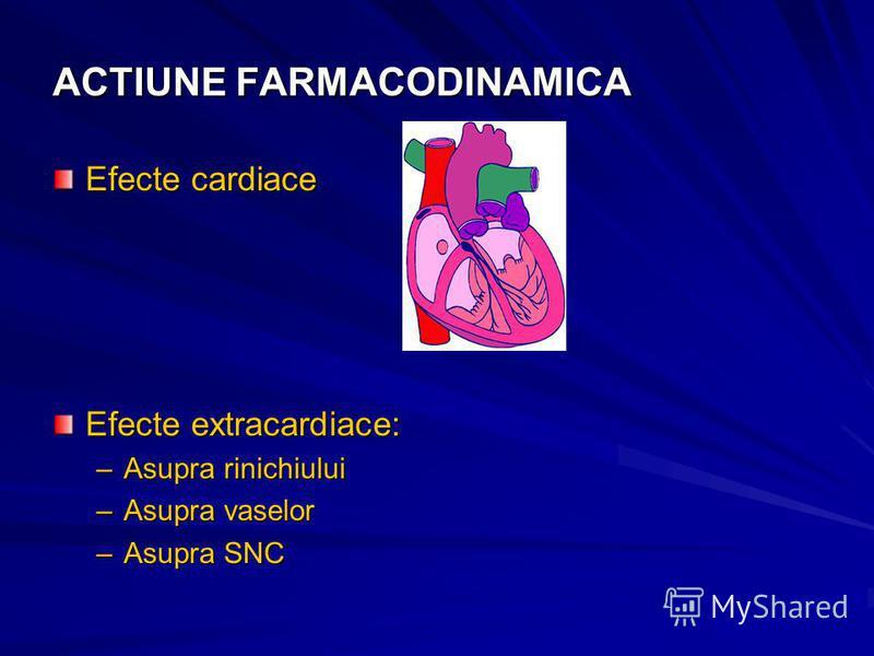 ACTIUNE FARMACODINAMICA Efecte cardiace Efecte extracardiace: –Asupra rinichiului –Asupra vaselor –Asupra SNC
