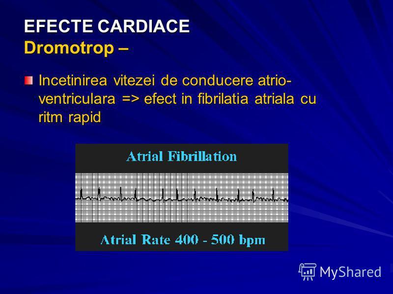 EFECTE CARDIACE Dromotrop – Incetinirea vitezei de conducere atrio- ventriculara => efect in fibrilatia atriala cu ritm rapid
