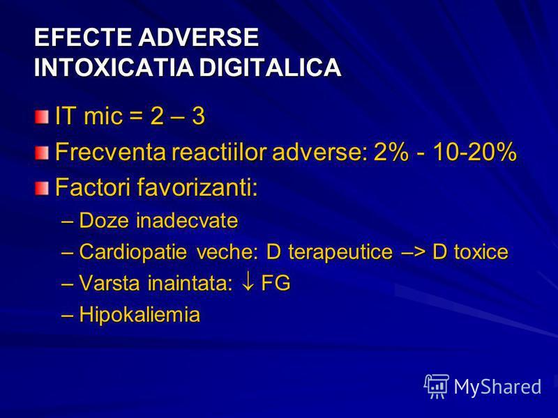EFECTE ADVERSE INTOXICATIA DIGITALICA IT mic = 2 – 3 Frecventa reactiilor adverse: 2% - 10-20% Factori favorizanti: –Doze inadecvate –Cardiopatie veche: D terapeutice –> D toxice –Varsta inaintata: FG –Hipokaliemia