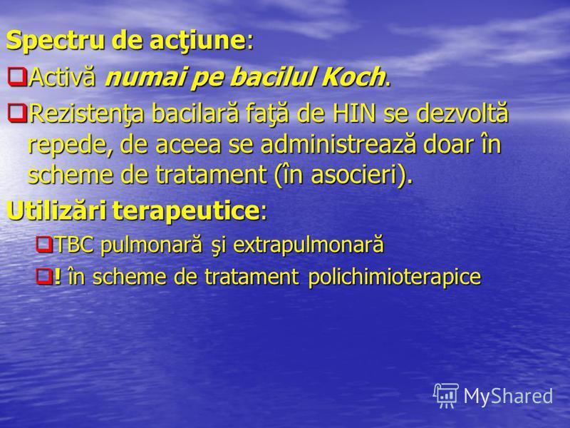 Spectru de acţiune: Activă numai pe bacilul Koch. Activă numai pe bacilul Koch. Rezistenţa bacilară faţă de HIN se dezvoltă repede, de aceea se administrează doar în scheme de tratament (în asocieri). Rezistenţa bacilară faţă de HIN se dezvoltă reped