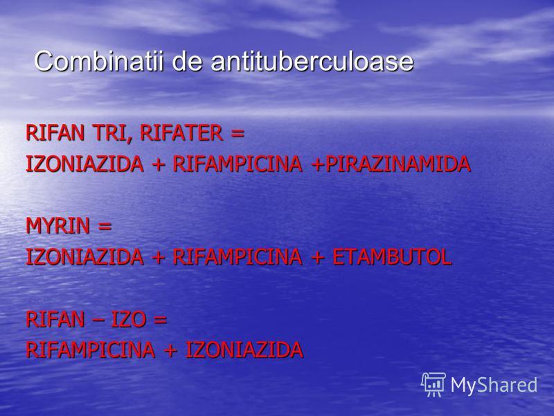Combinatii de antituberculoase RIFAN TRI, RIFATER = IZONIAZIDA + RIFAMPICINA +PIRAZINAMIDA MYRIN = IZONIAZIDA + RIFAMPICINA + ETAMBUTOL RIFAN – IZO = RIFAMPICINA + IZONIAZIDA