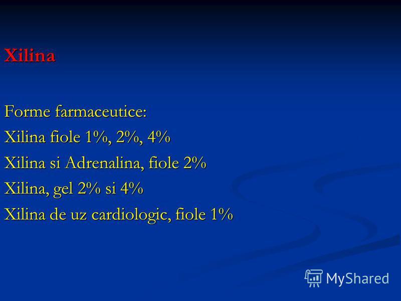 Xilina Forme farmaceutice: Xilina fiole 1%, 2%, 4% Xilina si Adrenalina, fiole 2% Xilina, gel 2% si 4% Xilina de uz cardiologic, fiole 1%