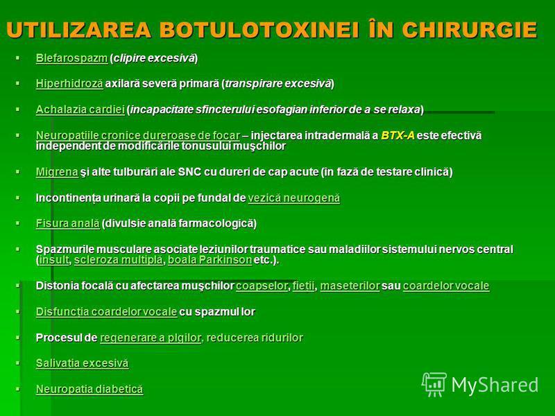 UTILIZAREA BOTULOTOXINEI ÎN CHIRURGIE Blefarospazm (clipire excesivă) Blefarospazm (clipire excesivă) Blefarospazm Blefarospazm Hiperhidroză axilară severă primară (transpirare excesivă) Hiperhidroză axilară severă primară (transpirare excesivă) Hipe