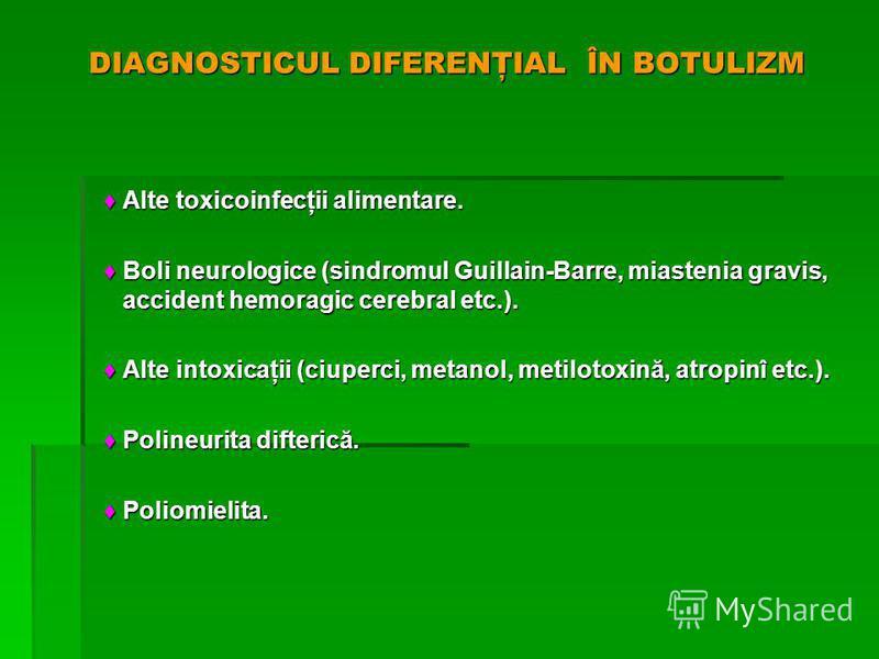 DIAGNOSTICUL DIFERENŢIAL ÎN BOTULIZM Alte toxicoinfecţii alimentare. Alte toxicoinfecţii alimentare. Boli neurologice (sindromul Guillain-Barre, miastenia gravis, accident hemoragic cerebral etc.). Boli neurologice (sindromul Guillain-Barre, miasteni
