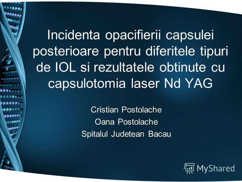 Incidenta opacifierii capsulei posterioare pentru diferitele tipuri de IOL si rezultatele obtinute cu capsulotomia laser Nd YAG Cristian Postolache Oana Postolache Spitalul Judetean Bacau