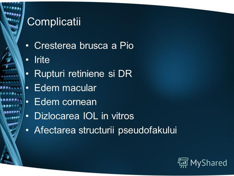 Complicatii Cresterea brusca a Pio Irite Rupturi retiniene si DR Edem macular Edem cornean Dizlocarea IOL in vitros Afectarea structurii pseudofakului
