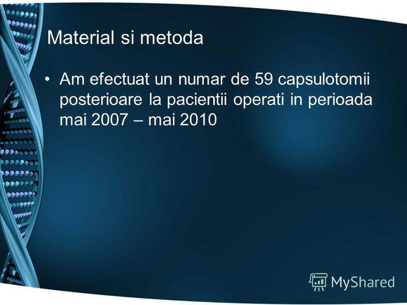 Material si metoda Am efectuat un numar de 59 capsulotomii posterioare la pacientii operati in perioada mai 2007 – mai 2010