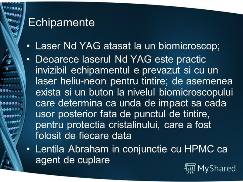 Echipamente Laser Nd YAG atasat la un biomicroscop; Deoarece laserul Nd YAG este practic invizibil echipamentul e prevazut si cu un laser heliu-neon pentru tintire; de asemenea exista si un buton la nivelul biomicroscopului care determina ca unda de
