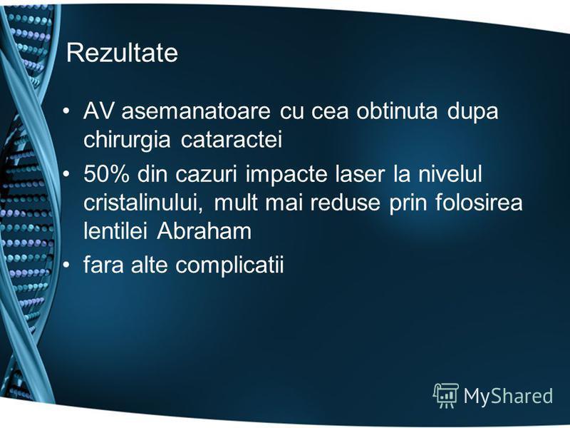 Rezultate AV asemanatoare cu cea obtinuta dupa chirurgia cataractei 50% din cazuri impacte laser la nivelul cristalinului, mult mai reduse prin folosirea lentilei Abraham fara alte complicatii