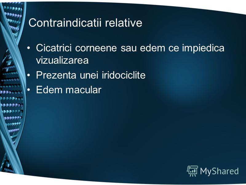 Contraindicatii relative Cicatrici corneene sau edem ce impiedica vizualizarea Prezenta unei iridociclite Edem macular