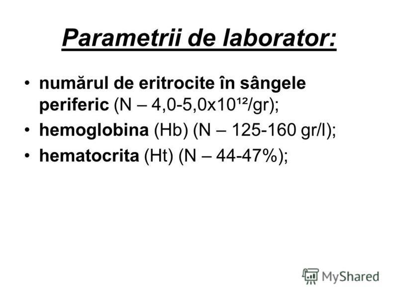 Parametrii de laborator: numărul de eritrocite în sângele periferic (N – 4,0-5,0x10¹²/gr); hemoglobina (Hb) (N – 125-160 gr/l); hematocrita (Ht) (N – 44-47%);