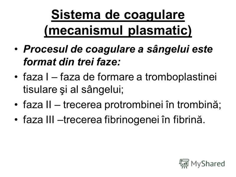 Sistema de coagulare (mecanismul plasmatic) Procesul de coagulare a sângelui este format din trei faze: faza I – faza de formare a tromboplastinei tisulare şi al sângelui; faza II – trecerea protrombinei în trombină; faza III –trecerea fibrinogenei î