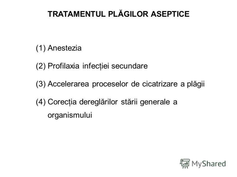 TRATAMENTUL PLĂGILOR ASEPTICE (1) (1)Anestezia (2) (2)Profilaxia infecţiei secundare (3) (3)Accelerarea proceselor de cicatrizare a plăgii (4) (4)Corecţia dereglărilor stării generale a organismului