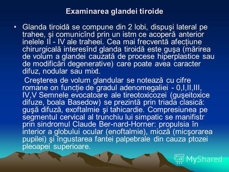 Examinarea glandei tiroide Glanda tiroidă se compune din 2 lobi, dispuşi lateral pe trahee, şi comunicînd prin un istm ce acoperă anterior inelele II - IV ale traheei. Cea mai frecventă afecţiune chirurgicală interesînd glanda tiroidă este guşa (mări