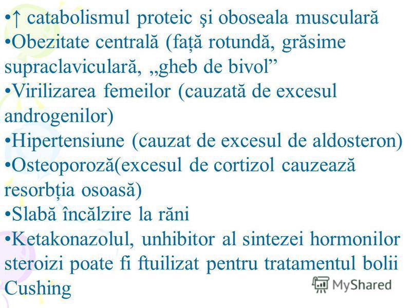 catabolismul proteic şi oboseala musculară Obezitate centrală (faţă rotundă, grăsime supraclaviculară, gheb de bivol Virilizarea femeilor (cauzată de excesul androgenilor) Hipertensiune (cauzat de excesul de aldosteron) Osteoporoză(excesul de cortizo