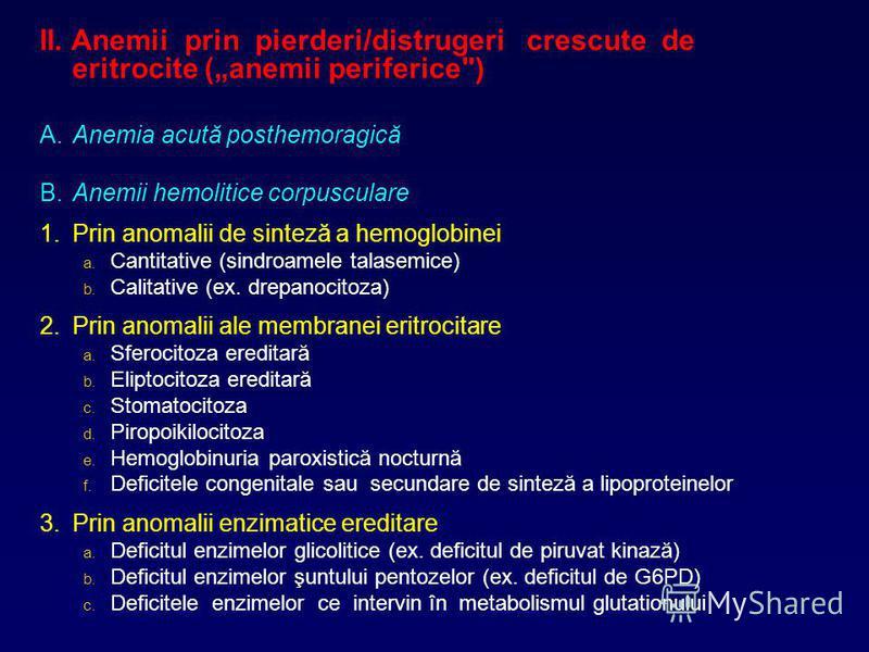 II. Anemii prin pierderi/distrugeri crescute de eritrocite (anemii periferice