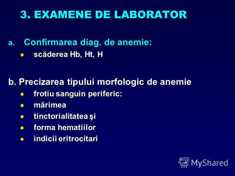 3. EXAMENE DE LABORATOR a. Confirmarea diag. de anemie: scăderea Hb, Ht, H scăderea Hb, Ht, H b. Precizarea tipului morfologic de anemie frotiu sanguin periferic: frotiu sanguin periferic: mărimea mărimea tinctorialitatea şi tinctorialitatea şi forma