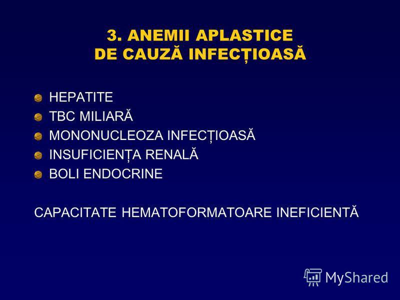 3. ANEMII APLASTICE DE CAUZĂ INFECŢIOASĂ HEPATITE TBC MILIARĂ MONONUCLEOZA INFECŢIOASĂ INSUFICIENŢA RENALĂ BOLI ENDOCRINE CAPACITATE HEMATOFORMATOARE INEFICIENTĂ