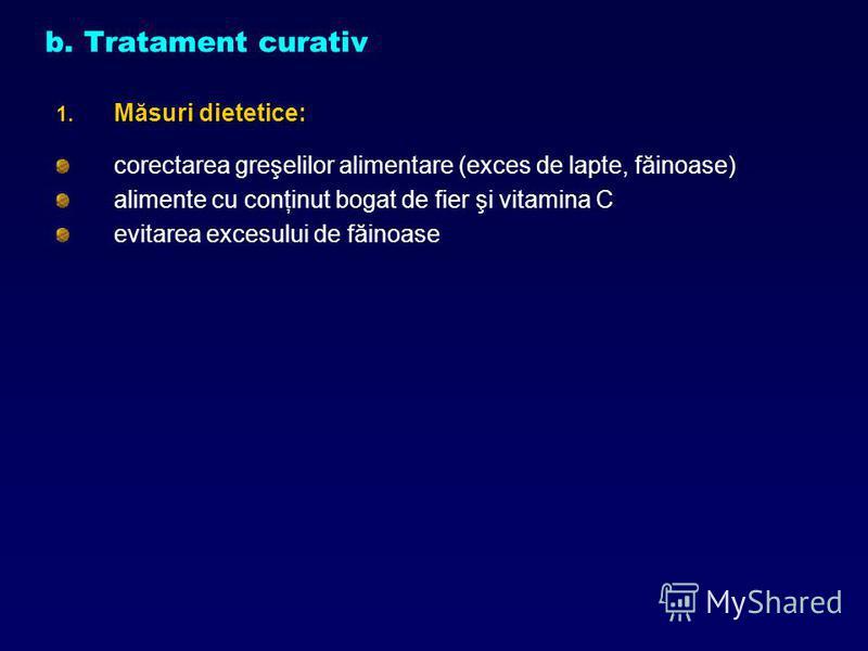 b. Tratament curativ 1. Măsuri dietetice: corectarea greşelilor alimentare (exces de lapte, făinoase) alimente cu conţinut bogat de fier şi vitamina C evitarea excesului de făinoase