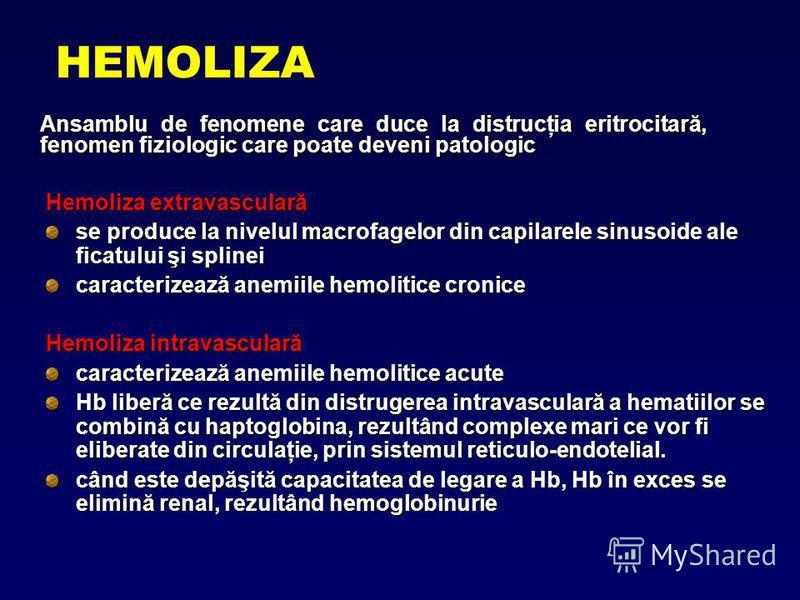 HEMOLIZA Ansamblu de fenomene care duce la distrucţia eritrocitară, fenomen fiziologic care poate deveni patologic Hemoliza extravasculară se produce la nivelul macrofagelor din capilarele sinusoide ale ficatului şi splinei caracterizează anemiile he
