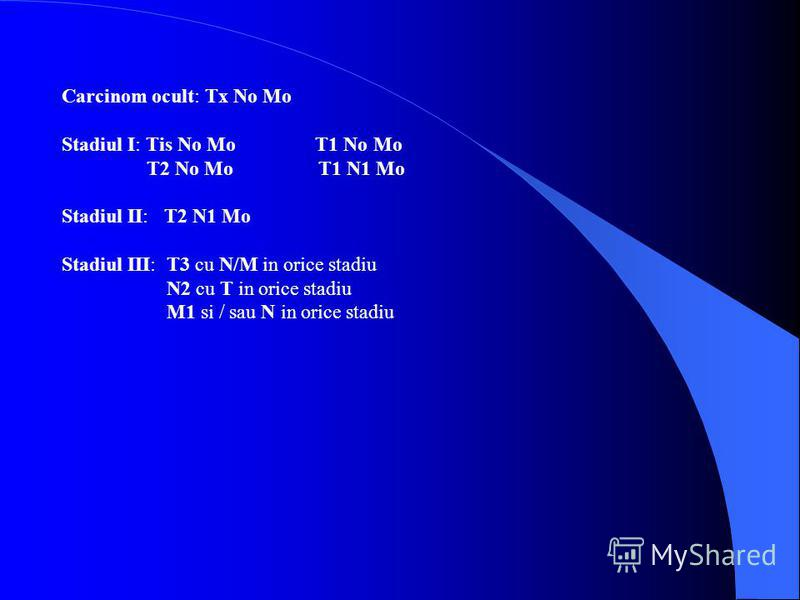 Carcinom ocult: Tx No Mo Stadiul I: Tis No Mo T1 No Mo T2 No Mo T1 N1 Mo Stadiul II: T2 N1 Mo Stadiul III: T3 cu N/M in orice stadiu N2 cu T in orice stadiu M1 si / sau N in orice stadiu