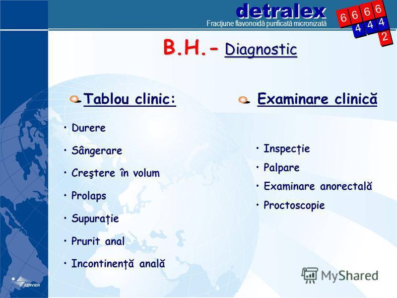 detralex 2 2 4 4 4 4 6 6 4 4 6 6 6 6 6 6 B.H.- Diagnostic Tablou clinic: Durere Sângerare Creştere în volum Prolaps Supuraţie Prurit anal Incontinenţă anală Examinare clinică Inspecţie Palpare Examinare anorectală Proctoscopie Fracţiune flavonoidă pu