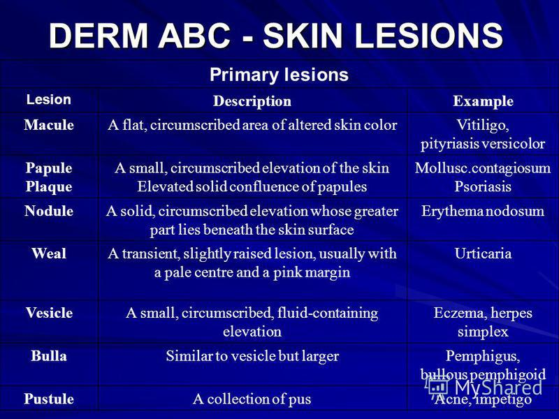 DERM ABC - SKIN LESIONS Primary lesions Lesion DescriptionExample MaculeA flat, circumscribed area of altered skin colorVitiligo, pityriasis versicolor Papule Plaque A small, circumscribed elevation of the skin Elevated solid confluence of papules Mo