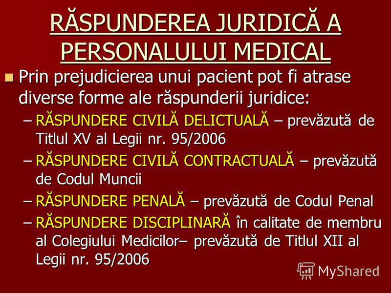 RĂSPUNDEREA JURIDICĂ A PERSONALULUI MEDICAL Prin prejudicierea unui pacient pot fi atrase diverse forme ale răspunderii juridice: Prin prejudicierea unui pacient pot fi atrase diverse forme ale răspunderii juridice: –RĂSPUNDERE CIVILĂ DELICTUALĂ – pr