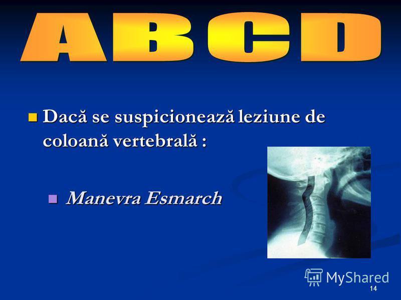 14 Dacă se suspicionează leziune de coloană vertebrală : Dacă se suspicionează leziune de coloană vertebrală : Manevra Esmarch Manevra Esmarch