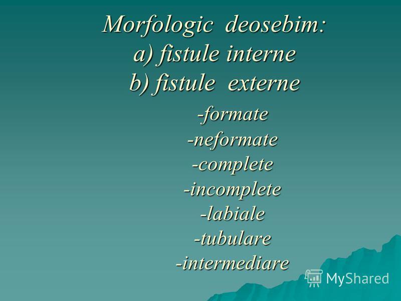 Morfologic deosebim: a) fistule interne b) fistule externe -formate -neformate -complete -incomplete -labiale -tubulare -intermediare