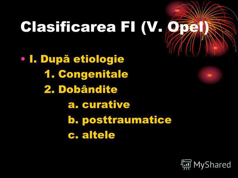 Clasificarea FI (V. Opel) I. După etiologie 1. Congenitale 2. Dobândite a. curative b. posttraumatice c. altele