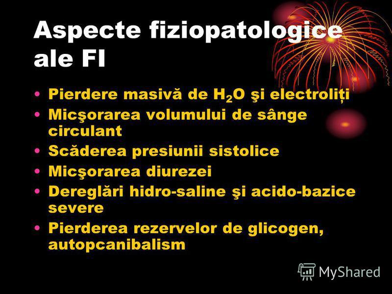 Aspecte fiziopatologice ale FI Pierdere masivă de H 2 O şi electroliţi Micşorarea volumului de sânge circulant Scăderea presiunii sistolice Micşorarea diurezei Dereglări hidro-saline şi acido-bazice severe Pierderea rezervelor de glicogen, autopcanib