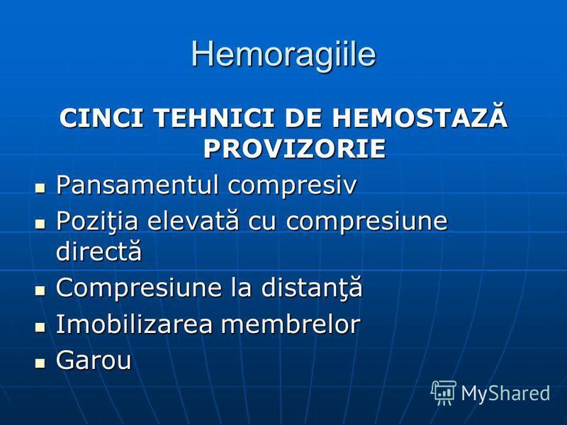 Hemoragiile CINCI TEHNICI DE HEMOSTAZĂ PROVIZORIE Pansamentul compresiv Pansamentul compresiv Poziţia elevată cu compresiune directă Poziţia elevată cu compresiune directă Compresiune la distanţă Compresiune la distanţă Imobilizarea membrelor Imobili