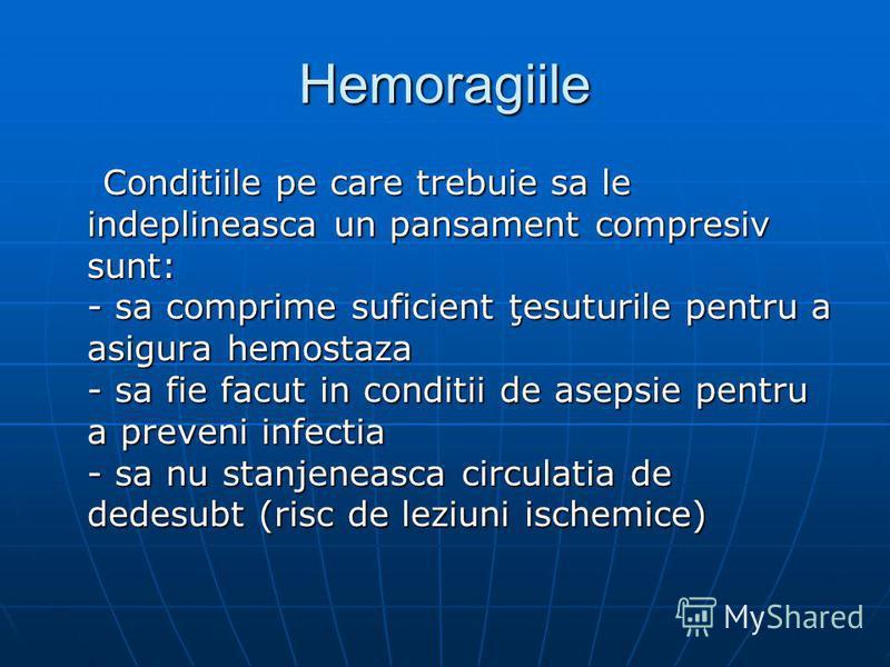 Hemoragiile Conditiile pe care trebuie sa le indeplineasca un pansament compresiv sunt: - sa comprime suficient ţesuturile pentru a asigura hemostaza - sa fie facut in conditii de asepsie pentru a preveni infectia - sa nu stanjeneasca circulatia de d