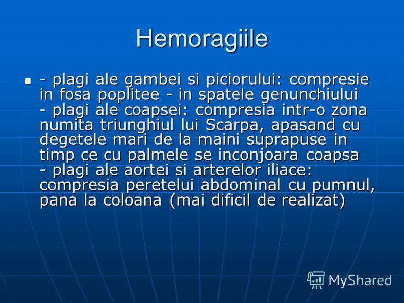 Hemoragiile - plagi ale gambei si piciorului: compresie in fosa poplitee - in spatele genunchiului - plagi ale coapsei: compresia intr-o zona numita triunghiul lui Scarpa, apasand cu degetele mari de la maini suprapuse in timp ce cu palmele se inconj