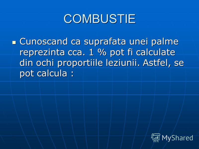 COMBUSTIE Cunoscand ca suprafata unei palme reprezinta cca. 1 % pot fi calculate din ochi proportiile leziunii. Astfel, se pot calcula : Cunoscand ca suprafata unei palme reprezinta cca. 1 % pot fi calculate din ochi proportiile leziunii. Astfel, se