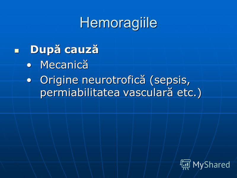 Hemoragiile După cauză După cauză MecanicăMecanică Origine neurotrofică (sepsis, permiabilitatea vasculară etc.)Origine neurotrofică (sepsis, permiabilitatea vasculară etc.)