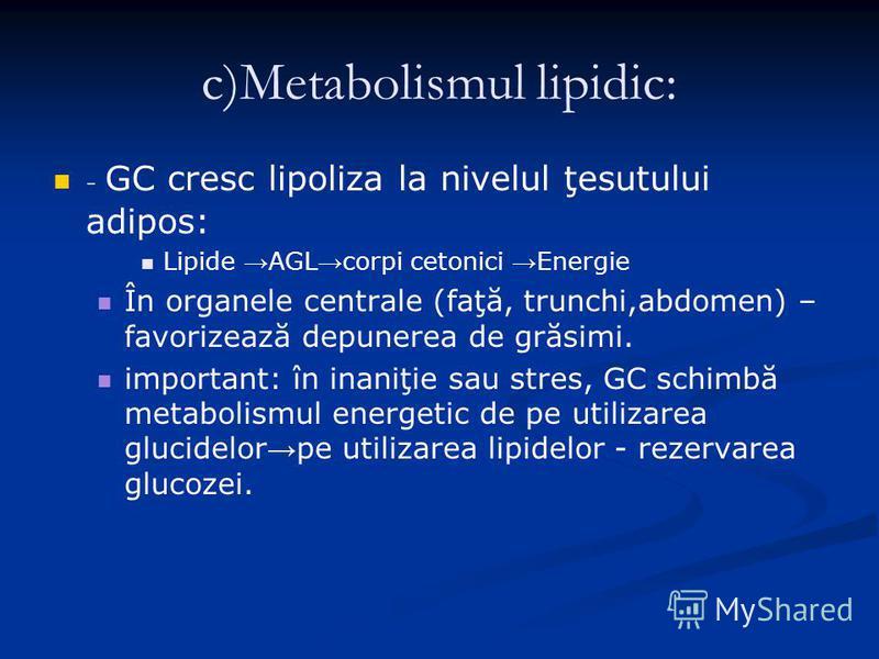 c)Metabolismul lipidic: - GC cresc lipoliza la nivelul ţesutului adipos: Lipide AGL corpi cetonici Energie În organele centrale (faţă, trunchi,abdomen) – favorizează depunerea de grăsimi. important: în inaniţie sau stres, GC schimbă metabolismul ener