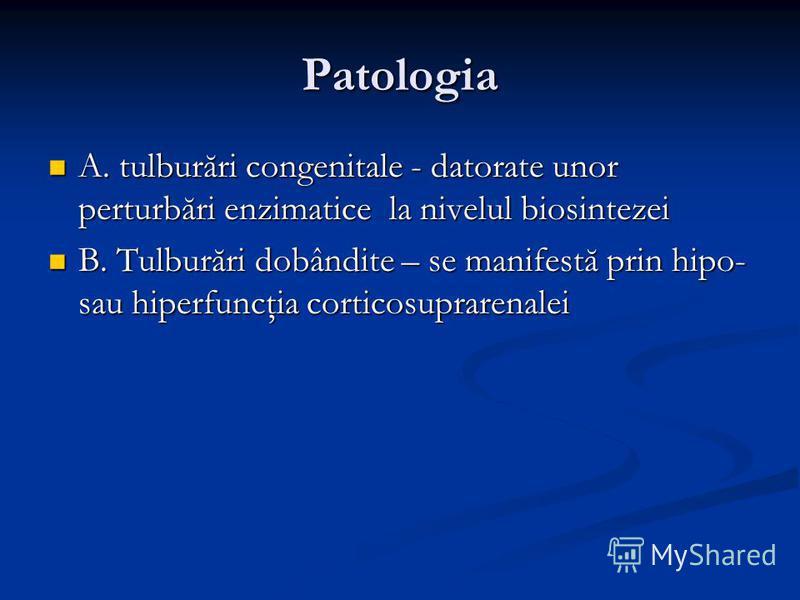 Patologia A. tulburări congenitale - datorate unor perturbări enzimatice la nivelul biosintezei A. tulburări congenitale - datorate unor perturbări enzimatice la nivelul biosintezei B. Tulburări dobândite – se manifestă prin hipo- sau hiperfuncţia co